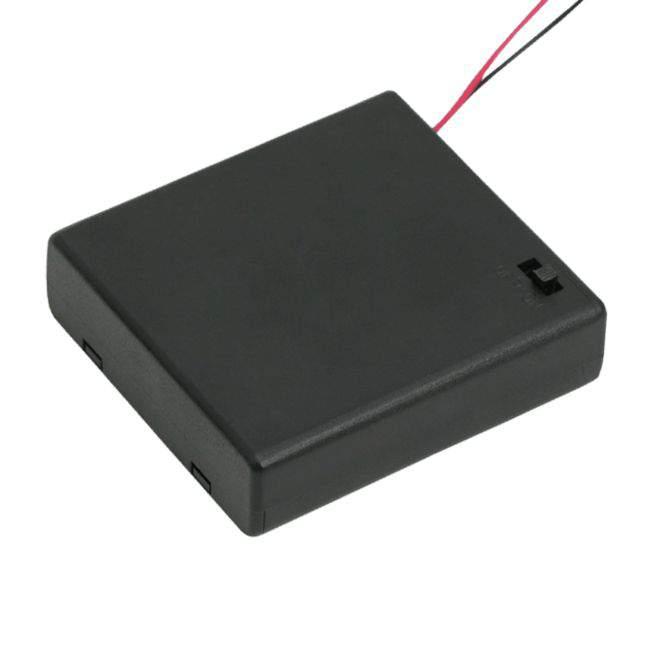 Elemtartó 4 db AA - kapcsolóval, fedőlappal